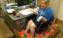 Reuben's annual prank. Brickey's desk became a ball pit.